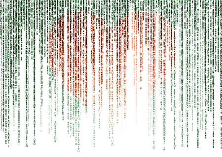 encoded: matrix code on white background with red heart, valentine concept Stock Photo