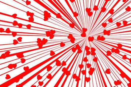 splotchy: red retro style sunburst on white background, with red heart, valentine concept