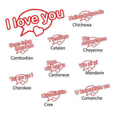 cree: word i love you in different languages, love concept.