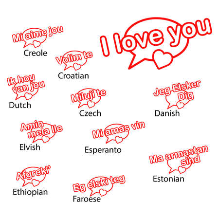 creole: word i love you in different languages, love concept.