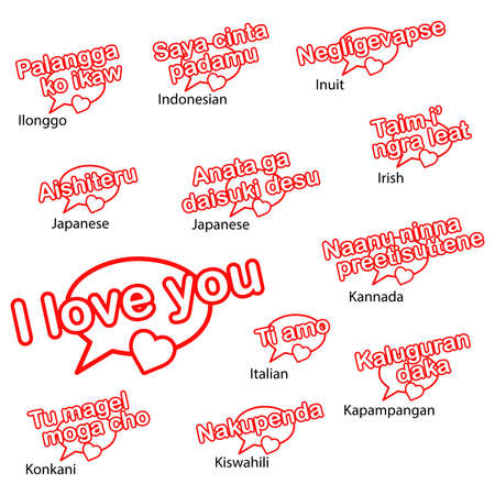 Vector Word I Love You In Different Languages Love Concept