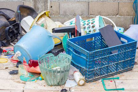 managing waste: plastic garbage can be reused or recycle