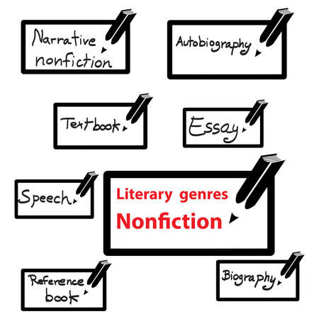 literary: vector icon of literary genres nonfiction, book. Illustration