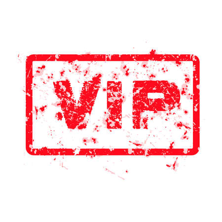 word VIP red grunge stamp isolated on white background