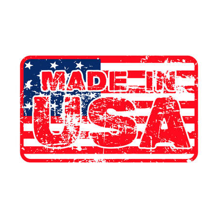 manufactured: MADE IN USA Rubber Stamp on the flag of USA,  isolated on white background. Illustration