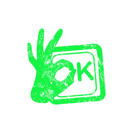 qualify: Ok red grunge rubber stamp with the hand sign in stead of the O position