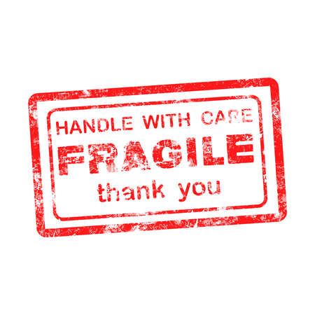 handle with care: FRAGILE  HANDLE WITH CARE thank you grungy red rubber stamp isolated on white background. Illustration