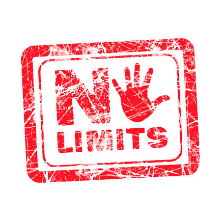 limitation: No limit red grunge rubber stamp with hand instead of the O, vector illustration