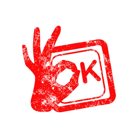 stead: Ok red grunge rubber stamp with the hand sign in stead of the O position