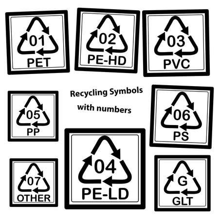 Recycling Symbolen met nummers voor plastic, geïsoleerd op een witte achtergrond