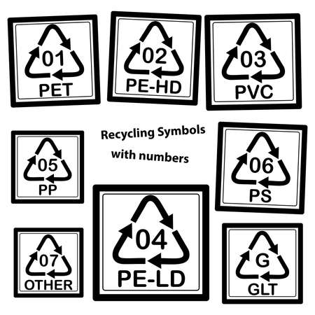 density: Recycling Symbols with numbers for plastic, isolated on white background