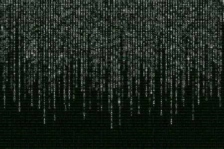 white matrix on the background of green binary code.