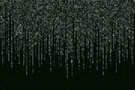 white matrix on the background of green binary code.
