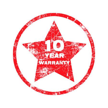 surety: dieci anni di garanzia timbro rosso grungy isolato su sfondo bianco.