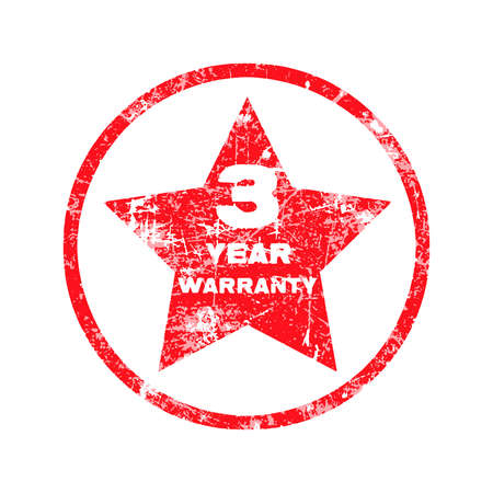 surety: three year warranty red grungy stamp isolated on white background.