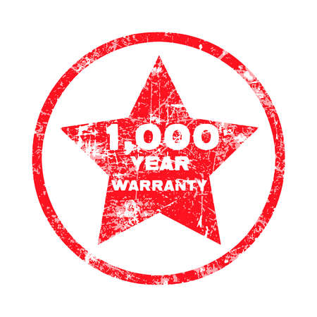 thousand: One thousand year warranty red grungy stamp isolated on white background. Illustration