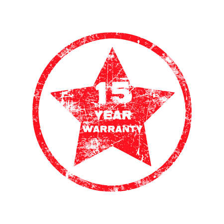 surety: fifteen year warranty red grungy stamp isolated on white background.