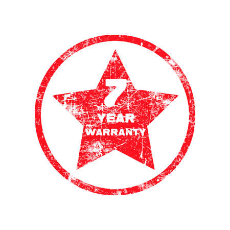 surety: seven year warranty red grungy stamp isolated on white background. Illustration