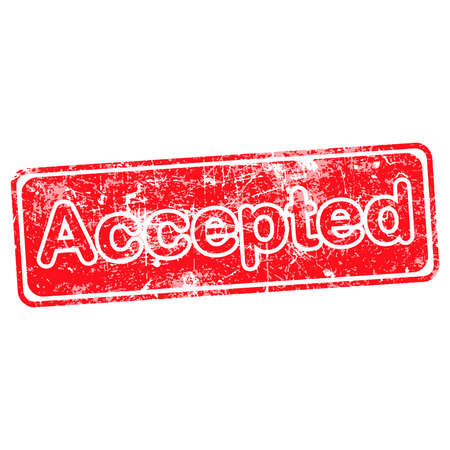 accepted: accepted red grunge rubber stamp vector illustration. Illustration