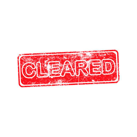 cleared red grunge rubber stamp vector illustration. Vector