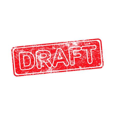 draft red grunge rubber stamp vector illustration. Illustration