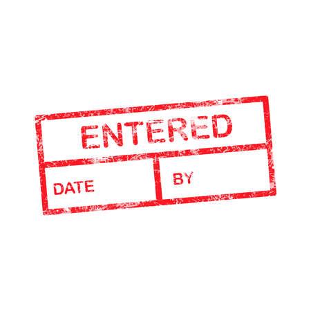 entered: entered red grunge rubber stamp vector illustration