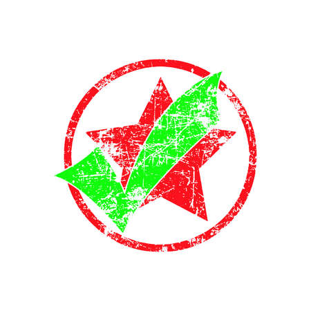 green check in red cycle with star grunge rubber stamp vector illustration.
