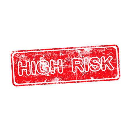high risk red grunge rubber stamp vector illustration. Vector