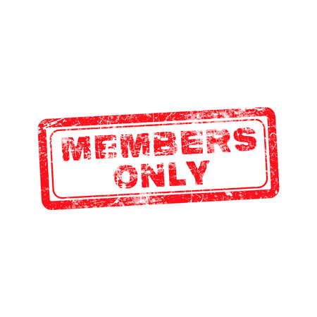 only members: members only red grunge rubber stamp vector illustration. Illustration