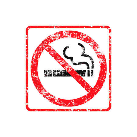 no label: No smoking grunge rubber stamp on white background, vector illustration.