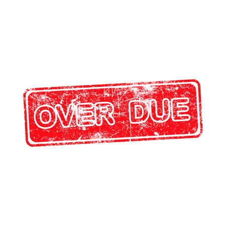 payable: VENCIDO vector sello de goma roja sobre un fondo blanco
