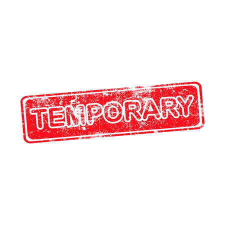 temporary: temporary red grunge rubber stamp vector illustration