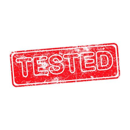 acceptation: tested red grunge rubber stamp vector illustration