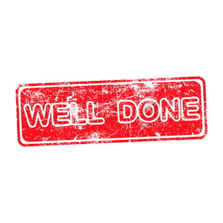 hardworking: WELL DONE red Rubber Stamp over a white background