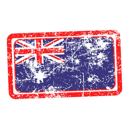 australia flag red grunge rubber stamp vector illustration illustration