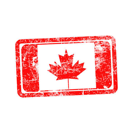 canada stamp: canada flag red grunge rubber stamp vector illustration