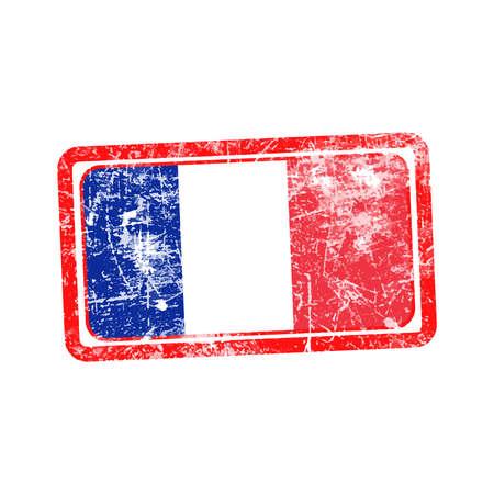 france flag red grunge rubber stamp vector illustration illustration