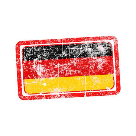 sello postal: bandera de alemania grunge rojo ilustraci�n vectorial sello de goma