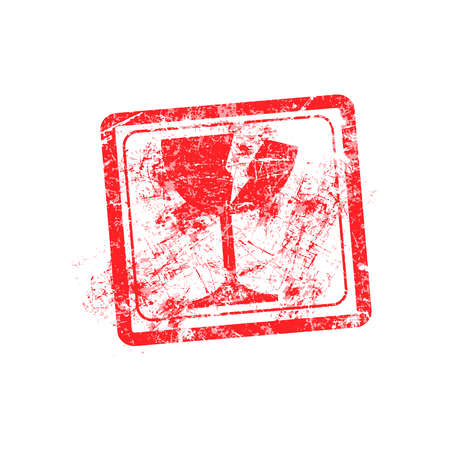 moving office: glass icon red grunge rubber stamp vector illustration