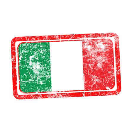 stamp vector: italy flag red grunge rubber stamp vector illustration