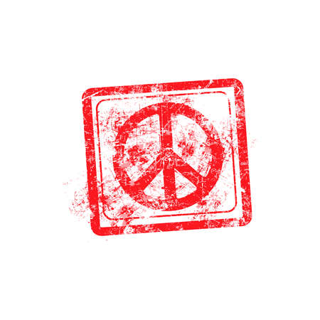 peace stamp: peace symbol red grunge rubber stamp vector illustration.