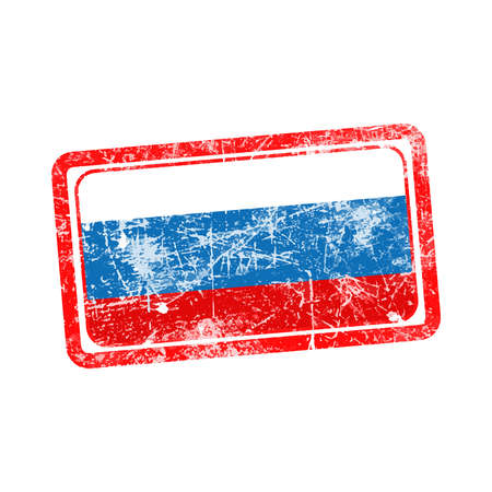 stamp vector: russia flag red grunge rubber stamp vector illustration