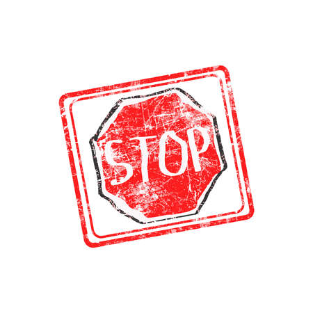 precautions: STOP red grunge rubber stamp vector illustration Illustration