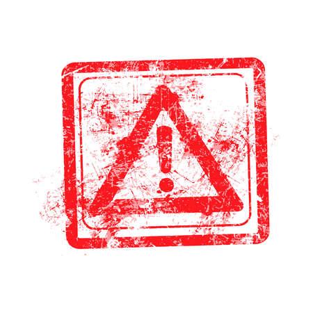grunge rubber stamp: Exclamation Mark Alert Icons red grunge rubber stamp vector illustration.