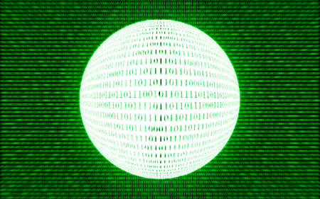 nole: Abstract tech binary green bright background, ridial motion blur Stock Photo
