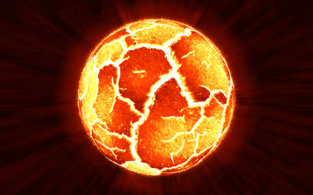 blowup: Scene of exploding planet from its core, illustration. Stock Photo