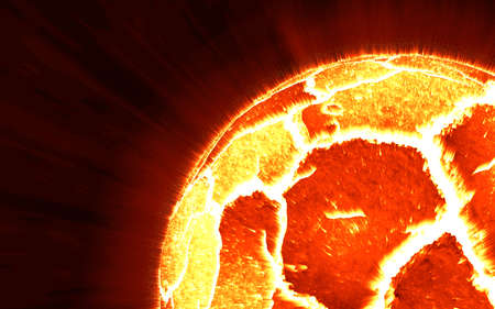 irradiate: close-up scene of exploding planet from its core, illustration.