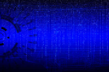 torrent: blue composition abstract background of Technology, with matrix code
