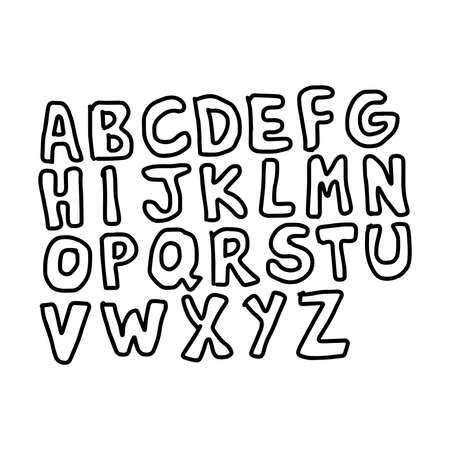 spontaneous: Hand drawn alphabet set. Pen texture handwriting font. Vector illustration. Illustration
