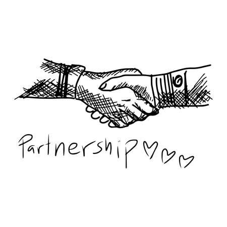 Partneship. Sketch handshake vector illustration with word partnership Vector